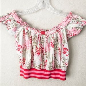 CLAYEUX Pink Red Floral off shoulder Cropped top